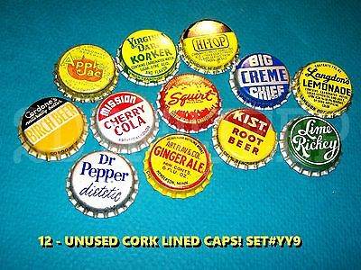 12 Assorted Flavor Soda Squirt Dr Pepper & Kist Set #yy9 Cork Unused Bottle Caps