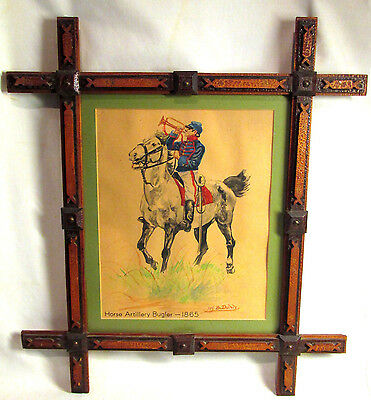 Original Watercolor Civil War Union HORSE ARTILLERY BUGLER-1865  Tramp Art Frame