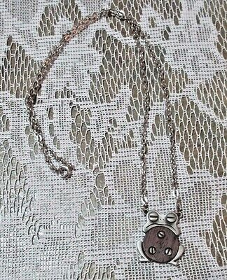 """Vintage JJ Frog Necklace 24"""" Silver Tone Chain Frog 1"""" w/faux Wood Insert Exc!"""