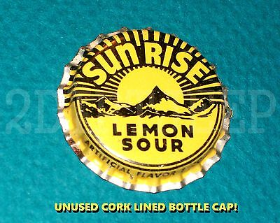 Sunrise Lemon Sour Flavor Soda Pop Mountain Vintage Old Cork Unused Bottle Cap