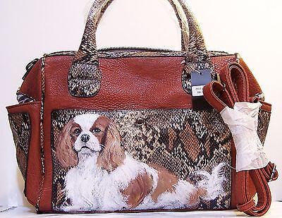 hand painted Cavalier King Charles Spaniel snake embossed  handbag  purse art