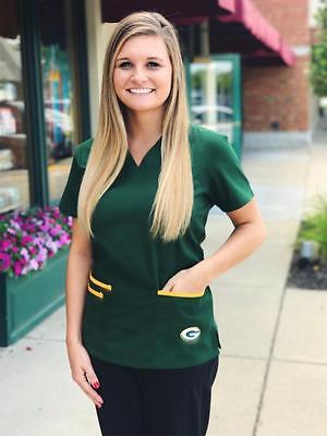Green Bay Packers Women's Mock Wrap Scrub Top with Front Patch Pockets