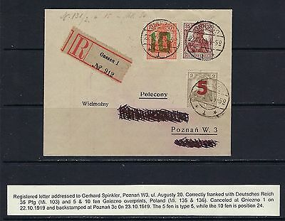 1919 Poland Scott 77-78 on registered cover to Poznan expertized & GPS CERT