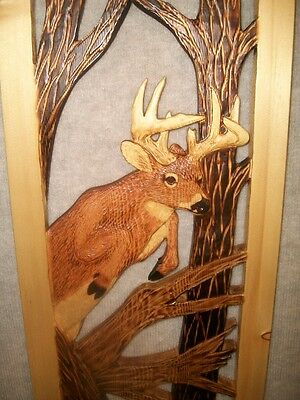 NEW!! Hand Carved WHITETAIL BUCK Wall Art Chainsaw White Tail Deer Wood Carving