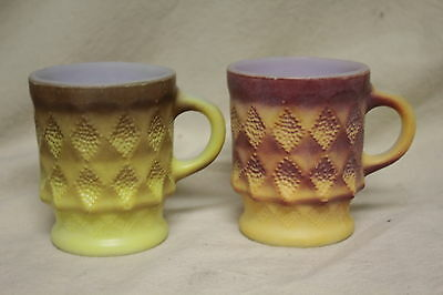 Pair Of Anchor Hocking Fire-King Kimberley Diamond Mugs 6559