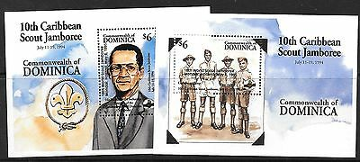 Dominica 1995 Scout Jamboree opt Set of 2 MS MNH