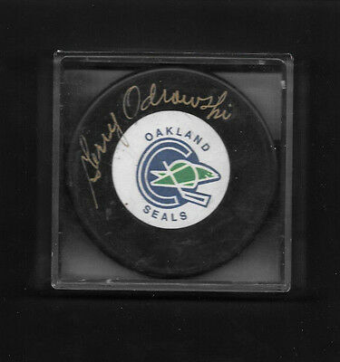 Vintage Oakland Seals Official Puck Signed Gerry Odrowski Auto COA