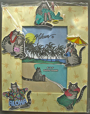 Hawaii Kliban Cats Cardboard Picture Frame for 5x7 Photo NIP Rare!