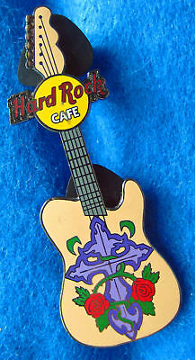 ONLINE TATTOO GUITAR PURPLE CROSS & RED ROSES Hard Rock Cafe PIN LE