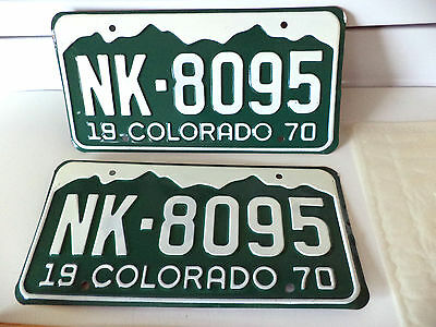 1970 State Of COLORADO License Plate Tag # NK-8095 Nice PAIR of NOS Plates
