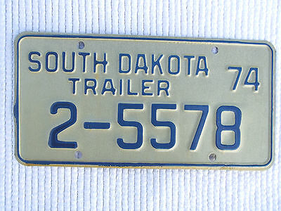 Vintage 1974 State OF SOUTH DAKOTA TRAILER License Plate Tag # 2-5578 Expired