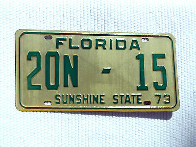 1973 FLORIDA SUNSHINE STATE License Plate Vintage Tag# 20N-15 low numbered plate