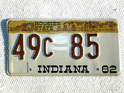 1982 INDIANA HOOSIER STATE License Plate tag # 49c 85 used expired plate
