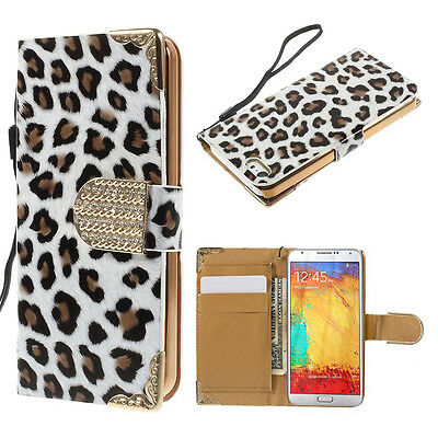 White Leopard Leather Wallet Case Stand Cover For Samsung Galaxy Note Edge {Cx30