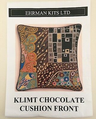 Ehrman Tapestry Needlepoint Kit Klimt Chocolate Cushion Front Candace Bahouth