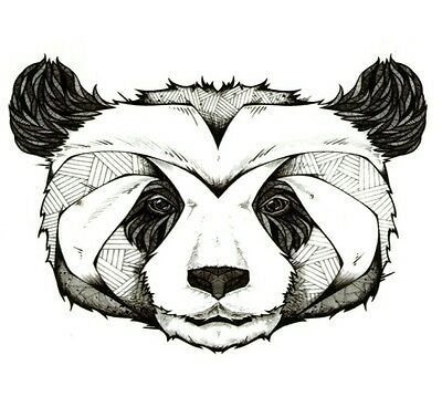 Tribal Panda  Temporary Tattoo Stickers Body Art 3D Waterproof Arm