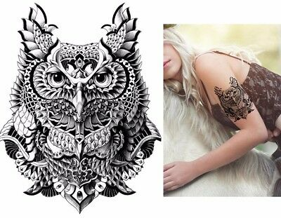 Owl Tribal Black Temporary Tattoo Stickers Body Art 3D Bird Waterproof Arm Back