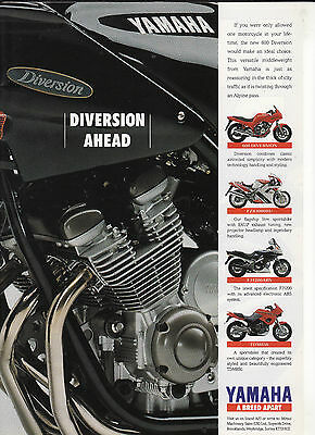 1991 YAMAHA XJ600 Diversion/TDM850/FZR100RU/FJ1200. Colour Magazine Advert