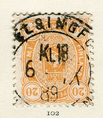 FINLAND;   1880s early classic issues fine used 20p. value