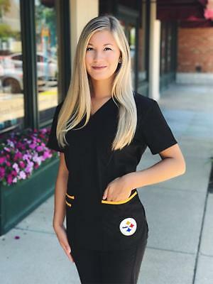 Pittsburgh Steelers Women's Mock Wrap Scrub Top with Front Patch Pockets