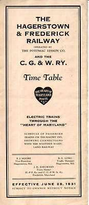 Hagerstown & Frederick RY H&FRY Public Timetable June 28 1931