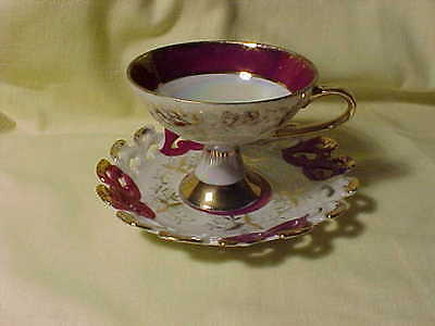 Lefton China Cup and Saucer Burgandy Cream  Iridescent
