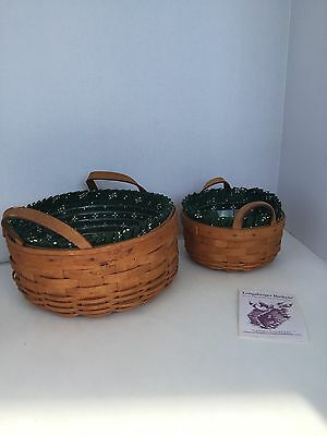 Longaberger 1994 Set Of 2 Baskets Heritage Green With Plastic Protector