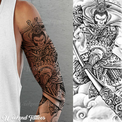 Full Arm Black Monkey Warrior King Tribal  Temporary Tattoo Sleeve  Shoulder UK