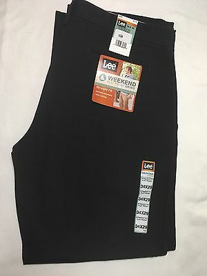 Lee's Men's Size 34 x 29 Black Weekend Chino Straight Fit Flat Front Pants NWT