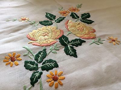 Beautiful Vintage Hand Embroidered Table Cloth- Raised Floral Design -no Damage