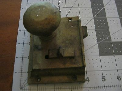1-Vintage Solid Brass Door Rim Lock Russwin? Surface Mount - Latch works freely