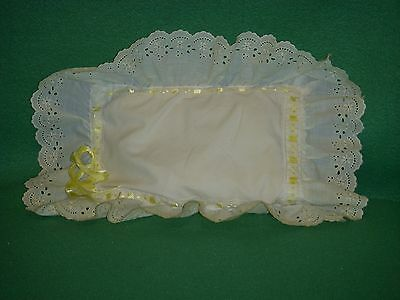 vtg white  embroidered Hand Made  doll PILLOW CASE