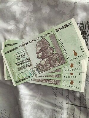 Zimbabwe 50 Trillion Dollar Notes X4 Uncirculated Low Serial Numbers 200 Trillio