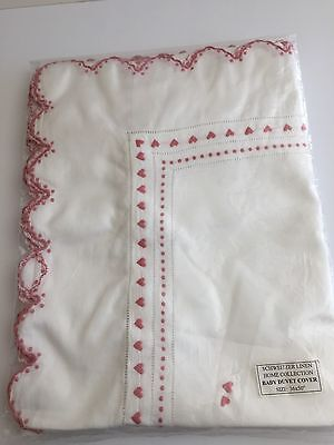 Schweitzer Linen, Baby Set, Duvet Cover and Fitted Sheet, White and Pink, NWOT