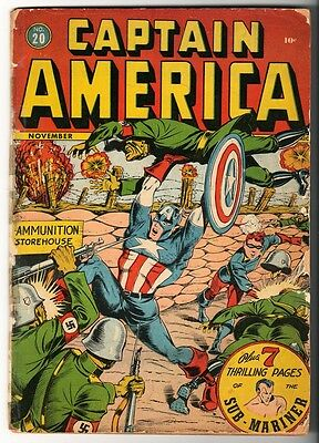 MARVEL TIMELY Comics CAPTAIN AMERICA Golden age #20 1942 Bucky Story G+-