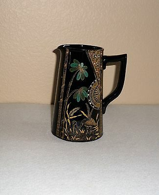 Gibson & Sons  England Circa1890  Black/enamel Painted  Pitcher