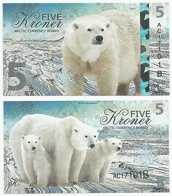 Arctic Currency Board  - 5 Kroner - Polar Bear (Fantasy Note) 2017 *NEW*