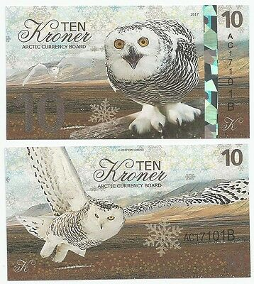 Arctic Currency Board  - 10 Kroner - Snowy Owl (Fantasy Note) 2017 *NEW*