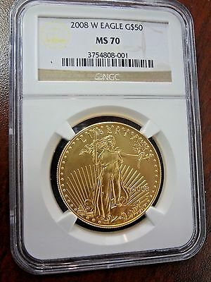 2008 W Gold Eagle $50 NGC MS 70