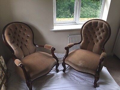 2 x Victorian walnut button upholstered spoon back bedroom/nursery/arm chairs