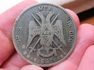 Awesome Masonic Mason Member Coin Medal 32nd degree 1927 Spes Mea In DEO  (17E1)