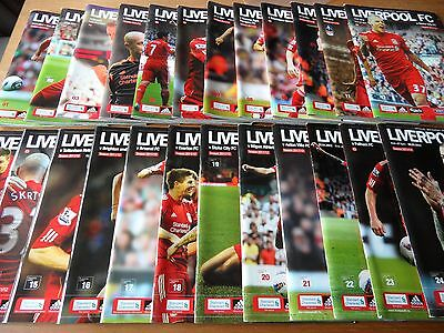 24 LIVERPOOL FC Home football programmes 2011-2012 Full season League & Cup VGC