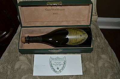 CUVEE DOM PERIGNON 1985 Champagne Storage Shipping Box Bottle Booklet Cork VTG