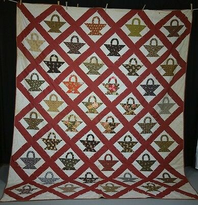 patchwork quilt red baskets  78 x 97 large American  antique