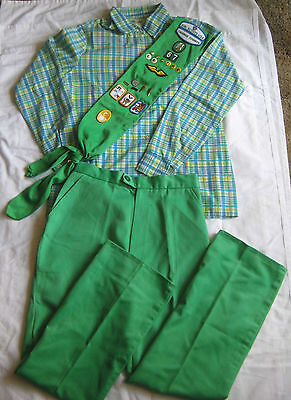 Girl Scout 1980-1987 3-Piece SENIOR UNIFORM Shirt Pants Sash Pins MUSEUM QUALITY