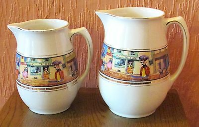"""Pair of A.G.Richardson Crown Ducal Jugs with """"Cries of London"""" Transfer Print."""