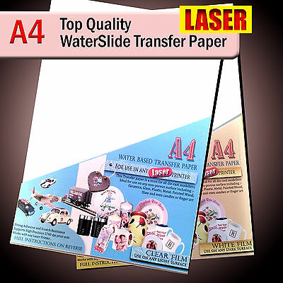 Water Slide Decal Paper - WaterSlide Transfer Paper - LASER A4 - Clear or White