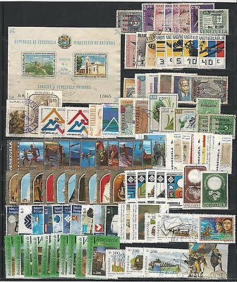 Venezuela: Lot of 100 different stamps of 2nd. cent, includes S.S, used. VE1137