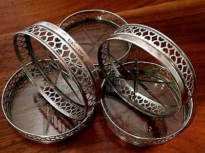 Frank M. Whiting Sterling Silver & Etched Glass Cocktail Coasters No Monogram