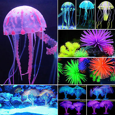 Soft Artificial Fish Tank Aquarium Coral & Jellyfish Ornament Water Plant Decor